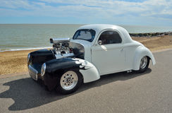 White and Black Hotrod motorcar Royalty Free Stock Photography