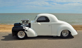 White and Black Hotrod motorcar Stock Photo