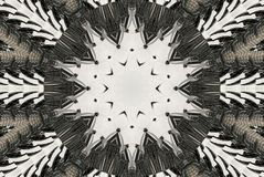 White black Kaleidoscope pattern abstract background. Circle pattern. Abstract fractal kaleidoscope background. Abstract fractal p Royalty Free Stock Photography