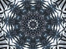 White black Kaleidoscope pattern abstract background. Circle pattern. Abstract fractal kaleidoscope background. Abstract fractal p Royalty Free Stock Image