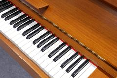 Wood-colored piano keys, adobe rgb Royalty Free Stock Photography