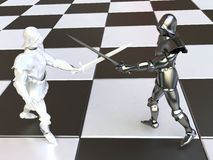 White and Black Knights Fighting on Chessboard Stock Images