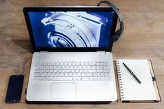 White Black Laptop Computer royalty free stock photos