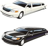 White and black limousine royalty free stock photography