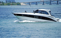 White and Black Luxury Cabin Cruiser Royalty Free Stock Image