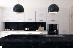 White and black marble kitchen Stock Image
