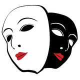 White and black mask. Theatrical masks. White and black mask Stock Photo