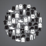 White and black mens clothing icons in circle. Eps10 Stock Photos