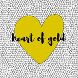 White and black mosaic background with yellow heart. vector Royalty Free Stock Image