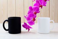 White and black mug mockup with pink orchid Stock Photos