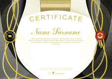 White black official certificate. Curved gold lines, black emblem and wafer Stock Images