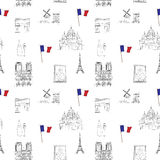 White and black Paris vector seamless pattern hand-drawn landmarks illustration colored background Royalty Free Stock Photography