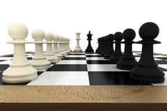 White and black pawns facing off with king and queen Royalty Free Stock Photography