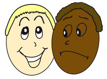 White and black people. The faces of white and black people Stock Images