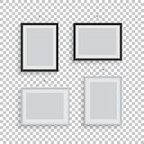 White and black picture or photo frames in different positions isolated on transparent background. Vector frame set. White and black picture or photo frames in Stock Photo