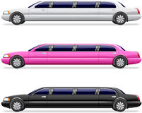 White, black and pink limousine Stock Photos