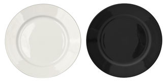 White and black plates isolated top view Royalty Free Stock Photography
