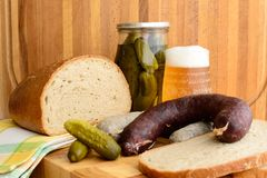 Black pudding, bread and beer. White and Black pudding, bread and beer Stock Photos