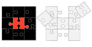 White and black puzzle vector illustration