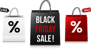 White, black and red Black Friday Sale shopping Royalty Free Stock Photo