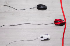 White and black, and red computer mouse Royalty Free Stock Image