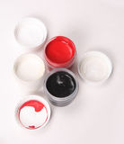 White, black, red gouache Stock Photos