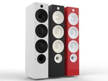 White, black and red modern speakers Royalty Free Stock Photo
