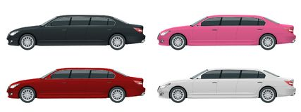 White, black, red, pink limousines isolated on white. Template limousine icon vector. Premium people transportation. Viev side Royalty Free Stock Images