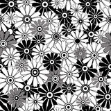 White-black repeating floral pattern vector illustration