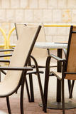 White and black restaurant chairs outdoor. Open cafe. Royalty Free Stock Photos
