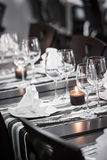 White and black restaurant table setting Stock Photos