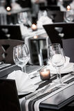 White and black restaurant table setting Stock Image