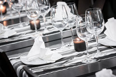 White and black restaurant table setting Royalty Free Stock Images