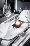 White and black restaurant table setting Royalty Free Stock Photos
