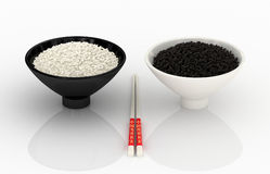 White and black rice. Chinese cuisine. royalty free stock image