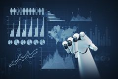 White and black robot hand, graphs. Close up of a black and white robot hand pointing at the viewer. Dark blue background with graphs and infographics. 3d Stock Photo