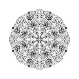 White And Black Round Lacy Tantric Ornament Royalty Free Stock Image
