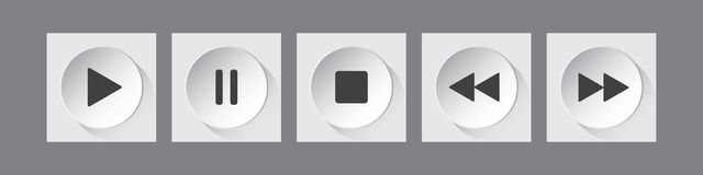 White, black round music control buttons set vector illustration