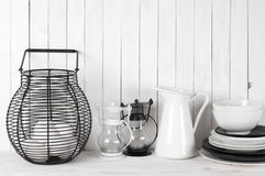 White and black rustic still life Stock Photos