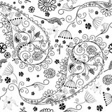 White and black seamless floral pattern Stock Photo