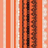 White and black seamless lace pattern on orange. Background Stock Photography