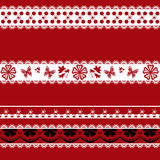 White and black seamless lace pattern on red. Background Royalty Free Stock Photography