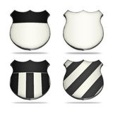 White&Black shields. Four shields in the shape of those used to indicate freeways on the maps Stock Photography