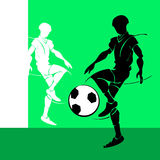 White and black silhouette of soccer Stock Images