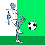 White and black silhouette of soccer Royalty Free Stock Photo