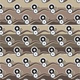 White black silver brown circle group with brown shade wave patt. Ern brown shade striped background vector illustration image Stock Photos