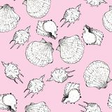White and black sketch illustration of seashells on trendy Little Piglet color Panton 2019 background. Seamless pattern stock photography