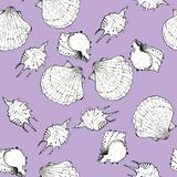 White and black sketch illustration of seashells on trendy Mystic Violet color Panton 2019 background. Seamless pattern royalty free stock photography