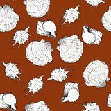 White and black sketch illustration of seashells on trendy Sugar Almond color Panton 2019-2020 background. Seamless pattern royalty free stock photography