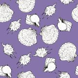 White and black sketch illustration of seashells on violet color background. Seamless pattern stock photos